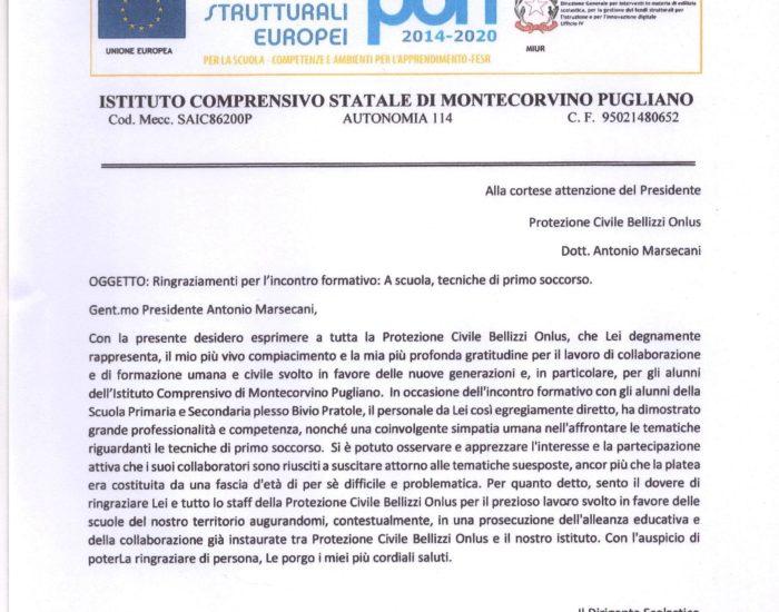Protezione Civile Bellizzi - istituto comprensivo montecorvino pugliano - tecniche di primo soccorso