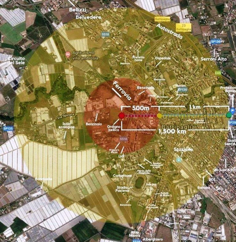Protezione Civile Bellizzi - ordigno bellico battipaglia - raggio area coinvolta