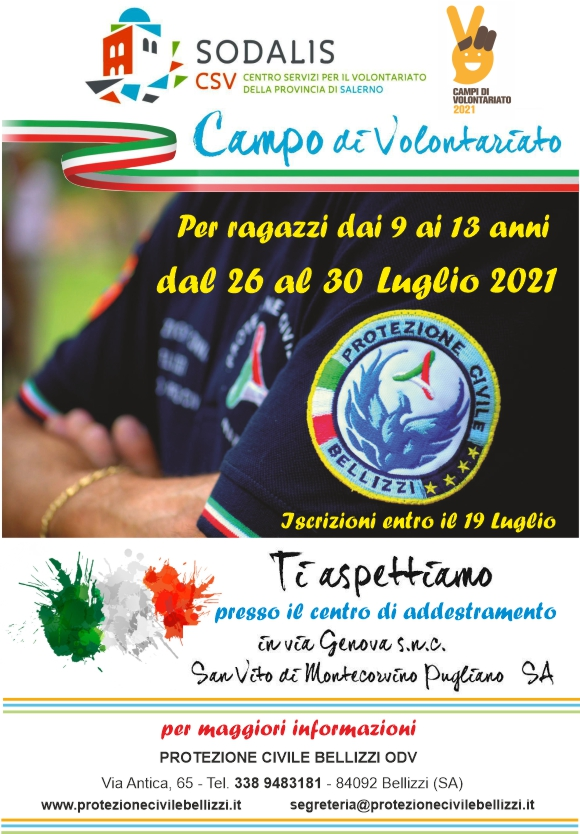 locandina Campo volontariato protezione civile bellizzi
